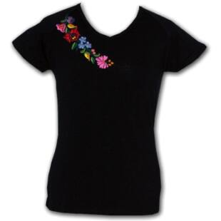 Rövid ujjú hímzett póló fekete e98e3db031