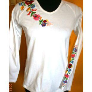 Hosszú ujjú hímzett póló  fehér ef55e477ed