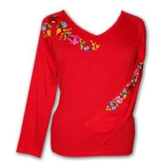 Hosszú ujjú hímzett póló /piros