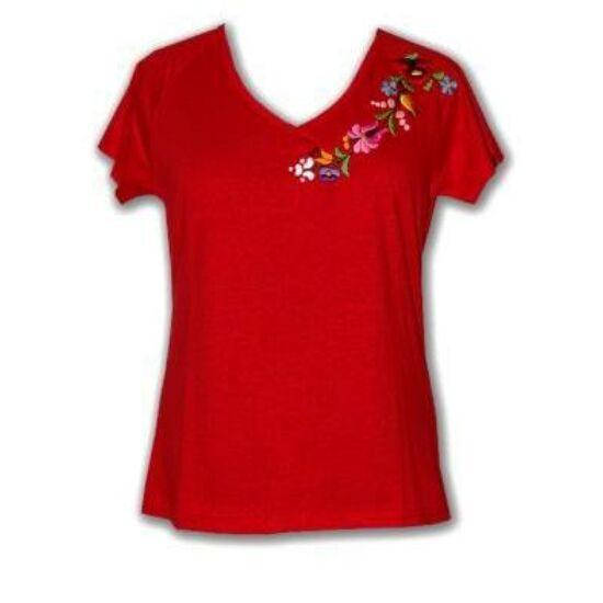 rövid ujjú póló  piros - Hímzett női pólók 7f27827d9f