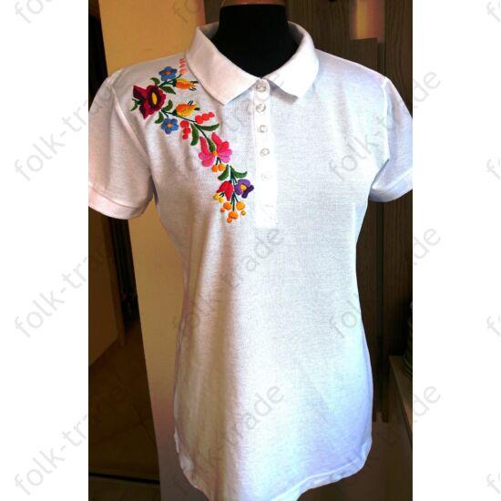 Galléros fehér női póló