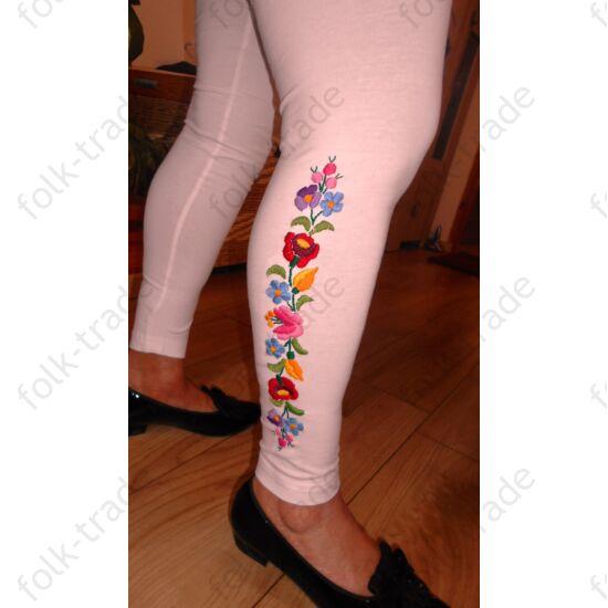 Fehér leggings színes kalocsai virágokkal