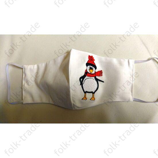 hímzett maszk  fehér pingvin  10+