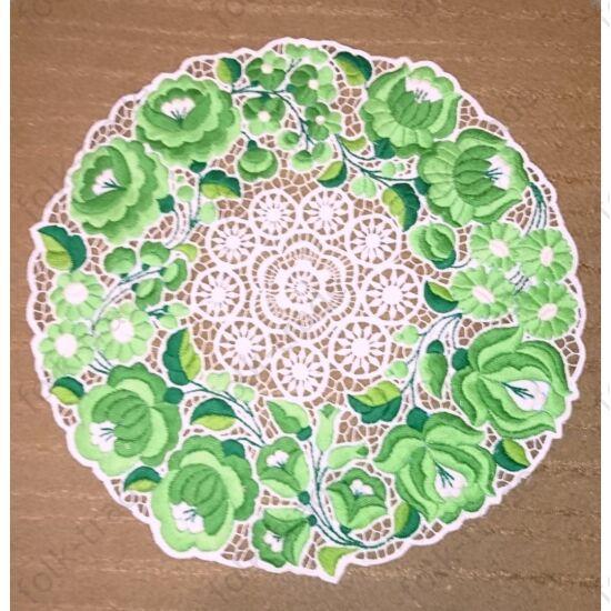 35-ös zöld ,dúsan hímzett riselis terítő