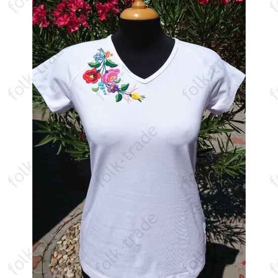 V nyakú fehér női póló