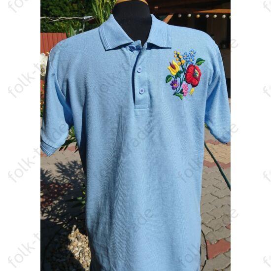 Galléros kék férfi póló