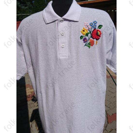Galléros fehér férfi póló XL