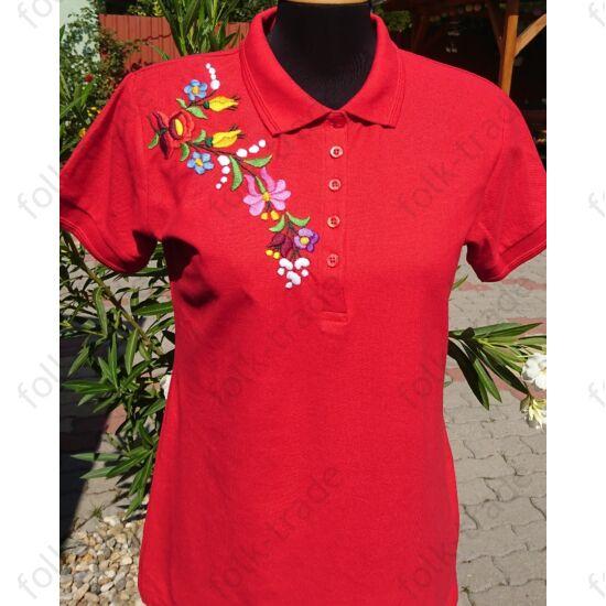 Galléros piros női póló