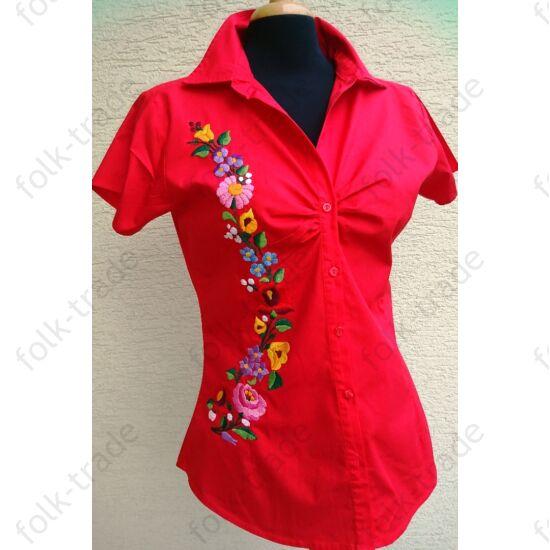 d232a08592 Piros rövid ujjú ing - Hímzett női ruhák
