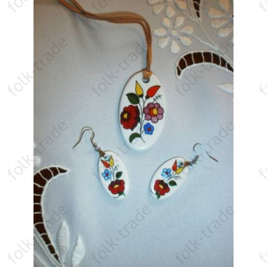 ékszer garnitúra /ovál-fehér színes
