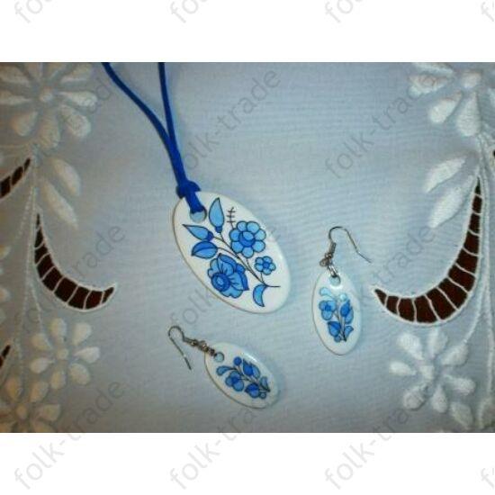 ékszer garnitúra /ovál-fehér -kék