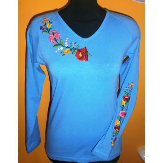 Hosszú ujjú himzett póló kék