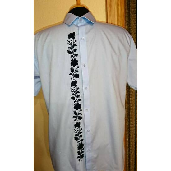 Malfini rövid ujjú férfi ing /világoskék-fekete