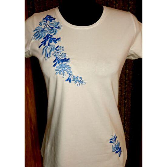 Kerek nyakú fehér női póló