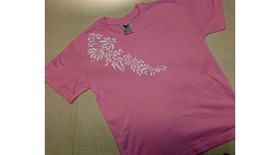 Rövid ujjú kislány póló   rózsaszín - Hímzett gyermekruhák 788fd5be0a