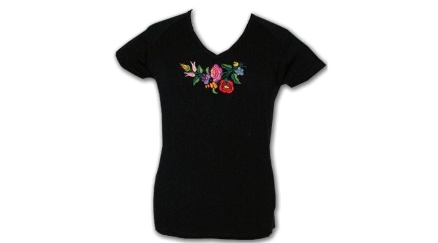 3969e9452c Rövid ujjú hímzett póló fekete - Hímzett női pólók