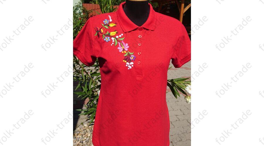 7074bee17c Galléros női póló piros - Hímzett női pólók