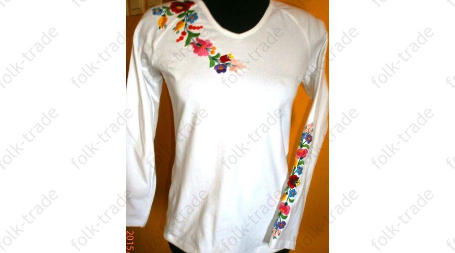 9b9b46270a Hosszú ujjú hímzett póló /fehér - Hímzett női pólók